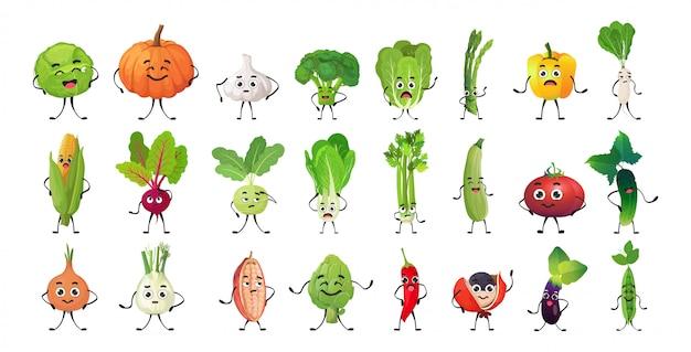 Stel schattige groente karakters cartoon mascotte personages collectie gezonde voeding concept geïsoleerd horizontaal