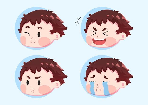 Stel schattige kinderen karakter in verschillende gezichtsuitdrukkingen