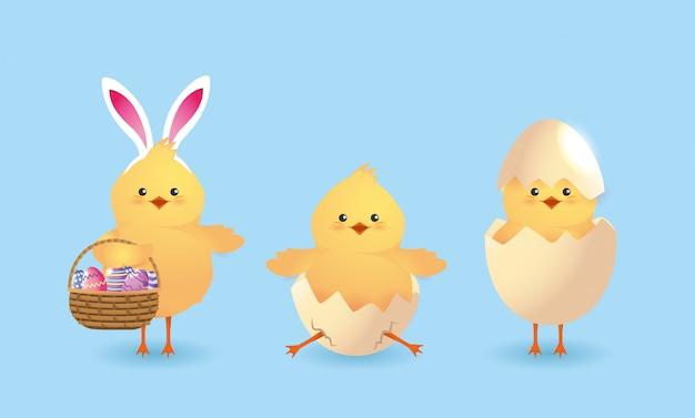 Stel schattige kuikens met gebroken eieren en pasen decoratie