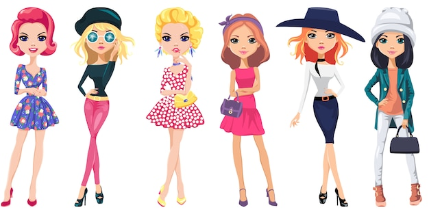 Stel schattige mode meisjes