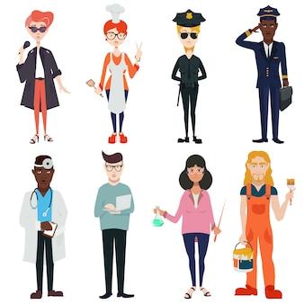 Stel schattige, mooie mensen van verschillende beroepen, nationaliteiten en geslacht in. zangers, piloten, politieagenten, artsen, leraren, koks