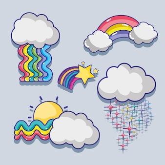 Stel schattige regenbogen met wolkenontwerp
