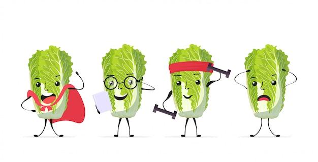Stel schattige verse groene chinese kool karakters smakelijke mascotte plantaardige personages collectie gezond voedsel concept horizontaal
