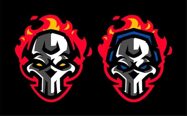 Stel schedel vuur esport mascotte gaming-logo in