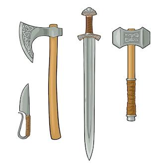 Stel scherpgerande wapens viking in. mes, bijl, zwaard, hamer. vintage gravure