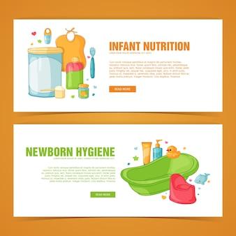 Stel sjabloon horizontale banner met product voor pasgeboren meisje en jongen.