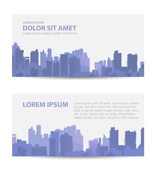 Stel sjabloonuitnodigingen, visitekaartjes, flyers in op het stedelijke thema. geschikt voor makelaarskantoren en bouw- en toerismebedrijven.