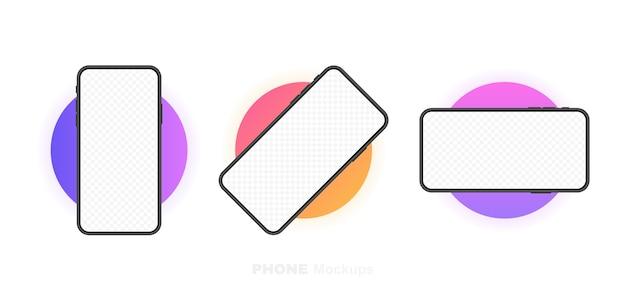 Stel smartphones leeg scherm in met rotatiepositie. telefoon. sjabloon voor infographics, presentatie of mobiele app. ui-interface. moderne illustratie.