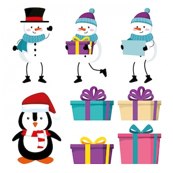 Stel sneeuwmannen met pinguïn en geschenken voor kerstevenement