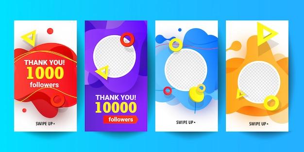Stel sociale netwerken banners voor bedankt volgers sjabloonontwerp.
