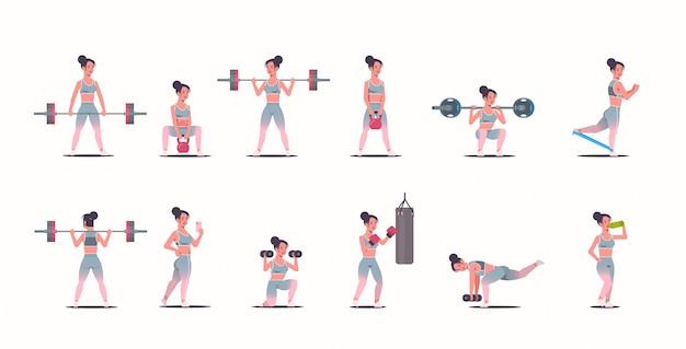 Stel sportief meisje dat verschillende oefeningen doet die met sporten bezig zijn