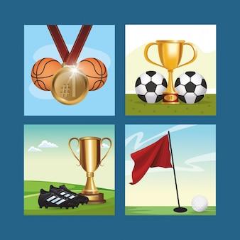 Stel sportuitrusting en trofeeën in
