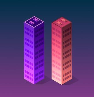Stel stad van ultraviolette stijl in