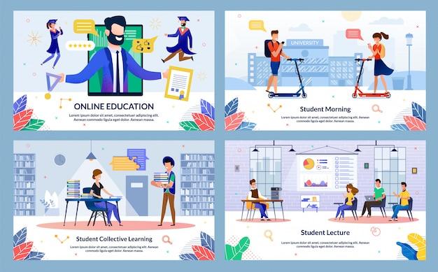 Stel student collectief leren, online onderwijs in.