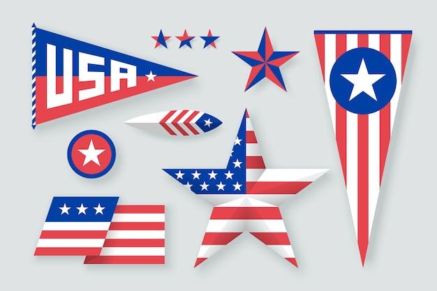 Stel symbolen van de vs in. pictogrammen ster, vlag, veer.