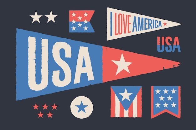Stel symbolen vs in. vintage retro grafische vlag, wimpel, ster, teken, symbolen van de vs. old school design voor independence day, 4 juli in de verenigde staten van amerika.