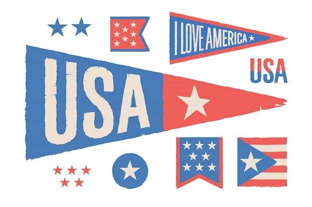Stel symbolen vs in. vintage retro grafische vlag, wimpel