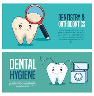 Stel tandverzorging in met vergrootglas en flosdraad
