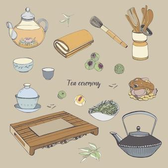 Stel theeceremonie in met verschillende traditionele gereedschappen. theepot, kommen, gaiwan. kleurrijke hand getekende illustratie.