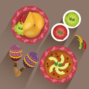 Stel traditioneel mexicaans eten met pittige saus