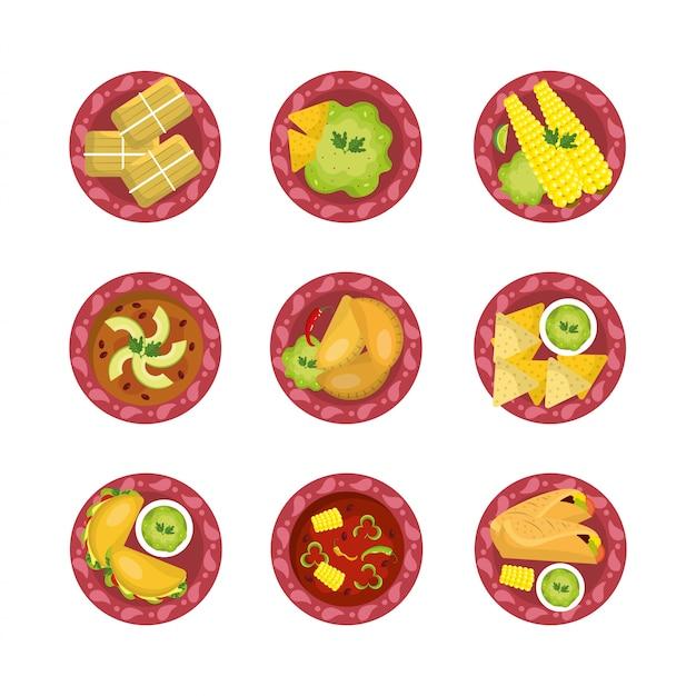 Stel traditioneel mexicaans pittig eten