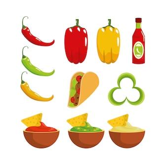 Stel traditionele mexicaanse sauzen en chili peper