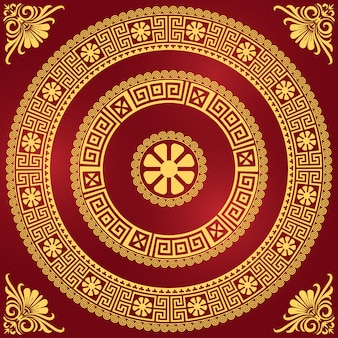 Stel traditionele vintage gouden vierkante en ronde griekse ornament (meander) en bloemmotief op een rode achtergrond