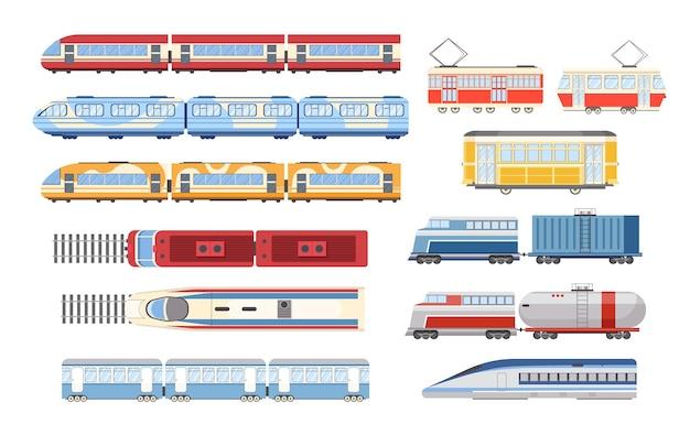 Stel trein, tram en metro in boven- en zijaanzicht, stads- en industriële spoorwegvoertuigmodi. stedelijke sneltrein, vervoer