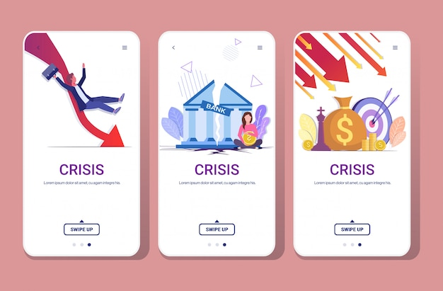 Stel vallende pijlen verminderen economie uitrekken stijgende daling financiële crisis mislukking begroting instorten neerwaartse grafiek telefoonschermen verzameling horizontale volledige lengte