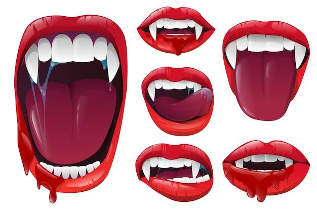 Stel vampierlippen en -mond in