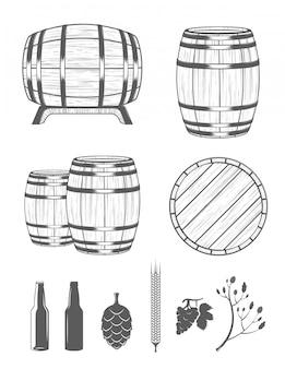 Stel vaten en ontwerpelementen