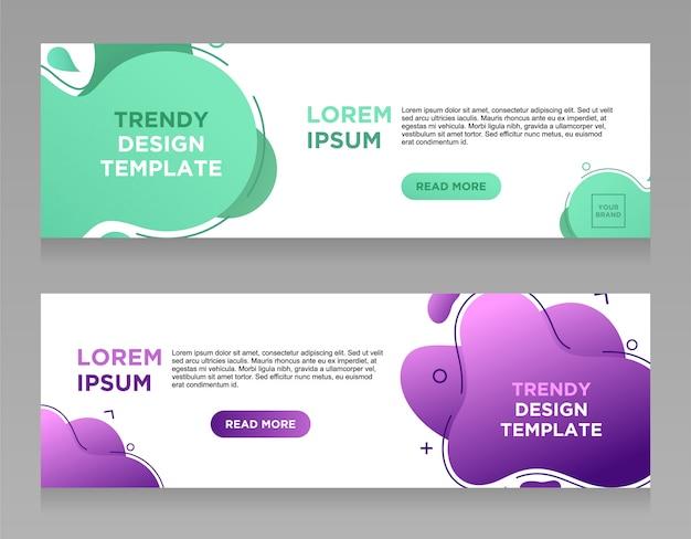 Stel vector abstracte vloeibare kleur ontwerp banner websjabloon.