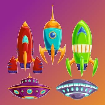 Stel vector amusante ruimteschepen en ufo's Gratis Vector