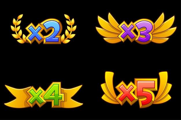 Stel vector geïsoleerd bonusnummer in voor online casino. gouden beloning voor het spel. bonuspictogrammen met linten.