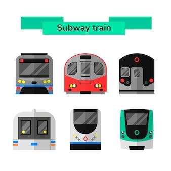 Stel vector metro trein metro
