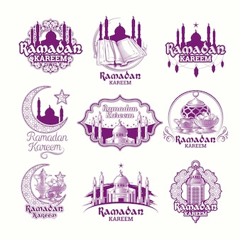 Stel vector paars illustraties, teken voor ramadan kareem met lantaarn, torens van moskee, halve maan