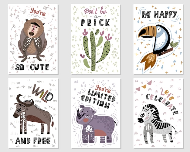Stel vector premade kaarten met cartoon afrikaanse dieren