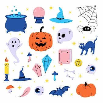 Stel vectorillustratie van trendy schattige halloween trick or treat ontwerpelementen in