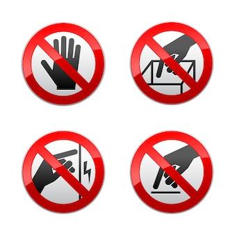 Stel verboden tekens in - niet aanraken