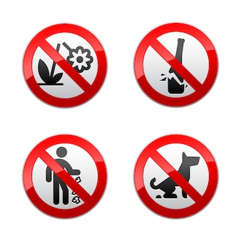 Stel verboden tekensverzameling - parkthema in