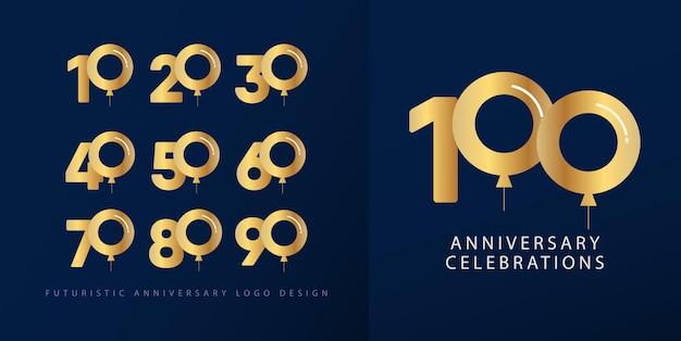 Stel verjaardag logo ontwerpconcept.