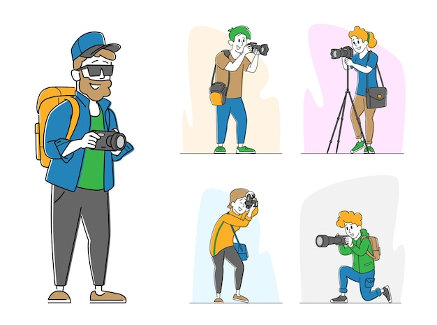 Stel verschillende fotografen in met fotocamera