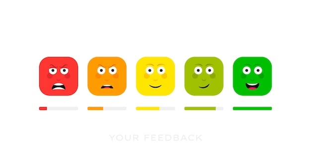 Stel verschillende gezichtsemoties in. feedback schaal. boze, verdrietige, neutrale, tevreden en vrolijke emoticonset.