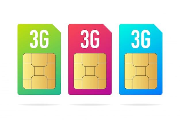 Stel verschillende kleurrijke sim-kaartchip in op wit