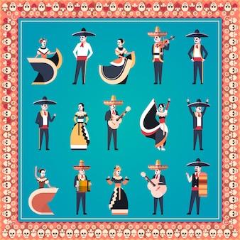 Stel verschillende mensen dag van dode traditionele mexicaanse halloween banner