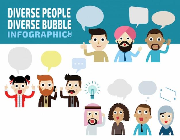 Stel verschillende mensen met verschillende bubbel denken concept.