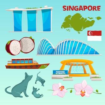 Stel verschillende oriëntatiepunten van singapore in.