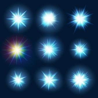 Stel verschillende vormen van blauwe burst-vonken in.