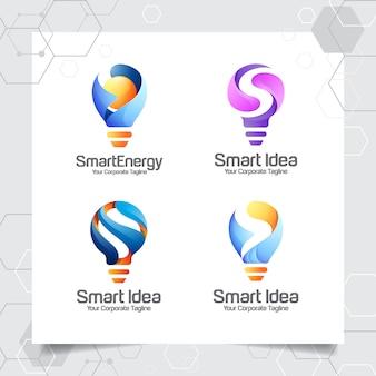 Stel verzameling bulb-logo sjabloon slim idee ontwerp van de letter s