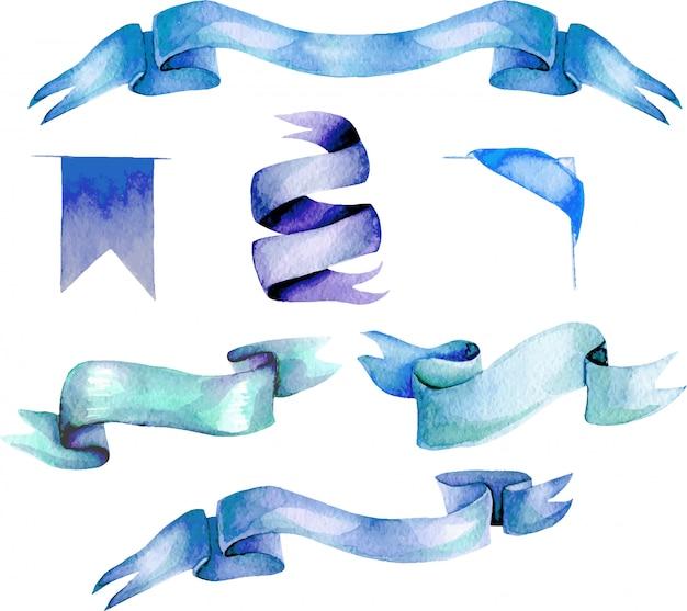 Stel, verzameling van aquarel blauwe linten, met de hand geschilderd geïsoleerd op een witte achtergrond